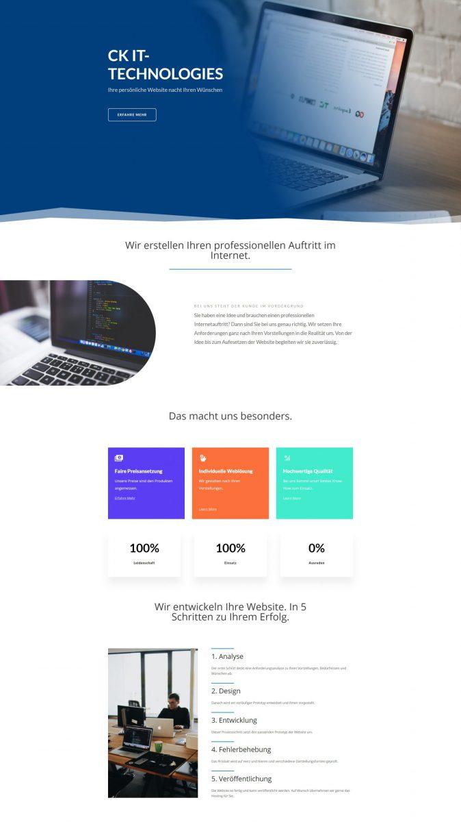 Ein blaues Design für Ihre Website